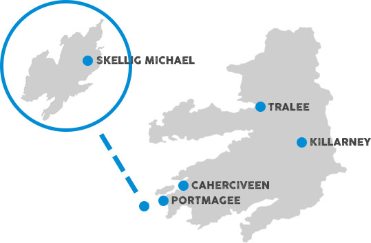 Map showing location of the Skelligsrock in relation to the Kerry coast